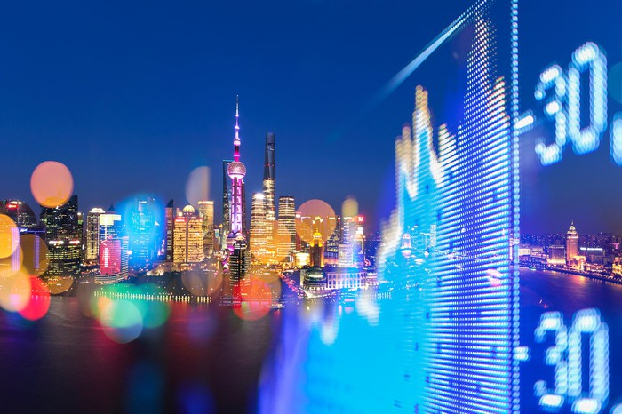 A stock chart with Shanghai's skyline in the background.