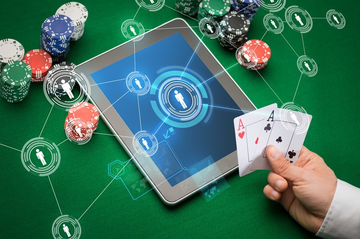 Poker chips with a tablet computer