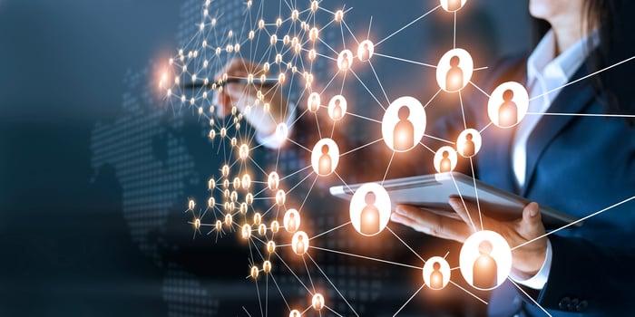 Digital representation of interconnected customers.