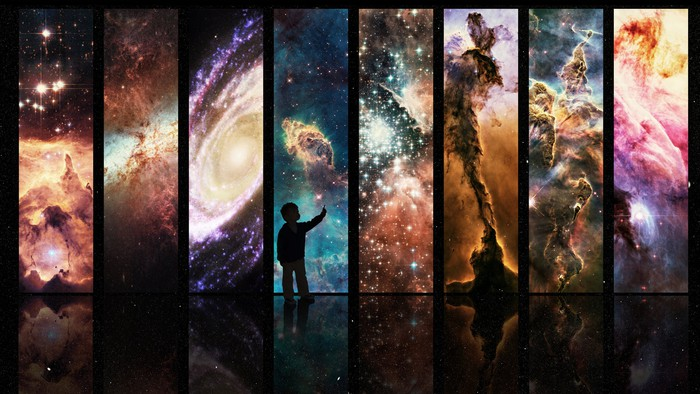 Child's silhouette pointing toward a series of panel, each depicting a beautiful scene from space.