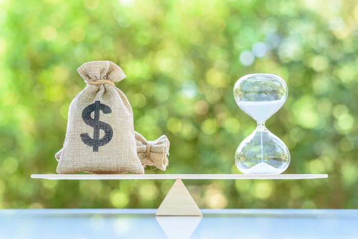 A scale weighs a money bag against an hour glass.
