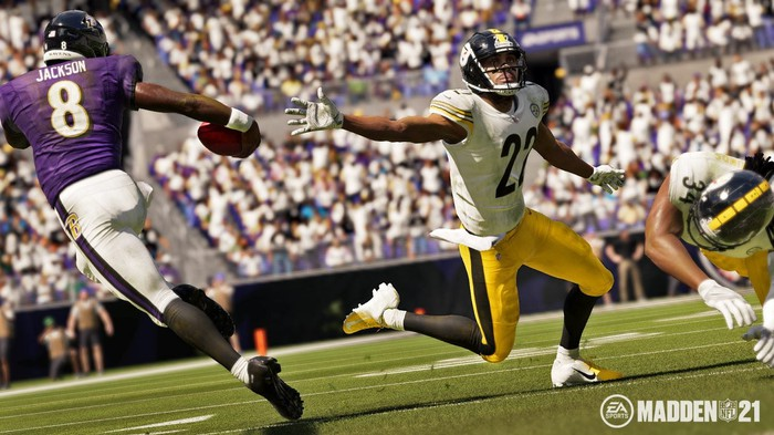 Screenshot from Electronic Arts' Madden NFL 21 video game.