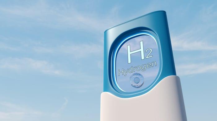 station saying H2 hydrogen representing hydrogen fuel technology