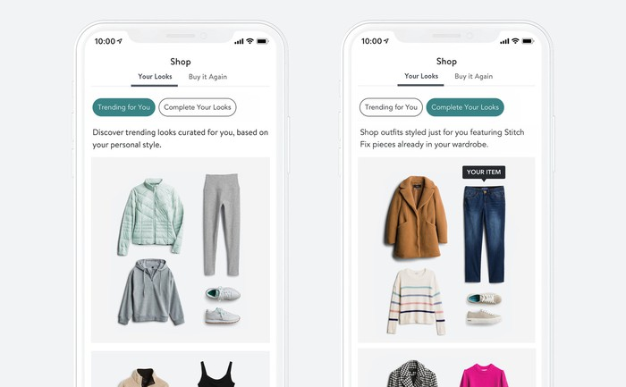 Two smartphone screens with Stitch Fix's direct buy service displayed.