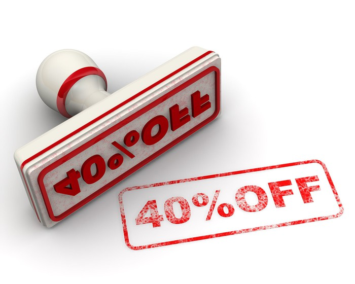 A rubber stamp that read 40% OFF in red ink.
