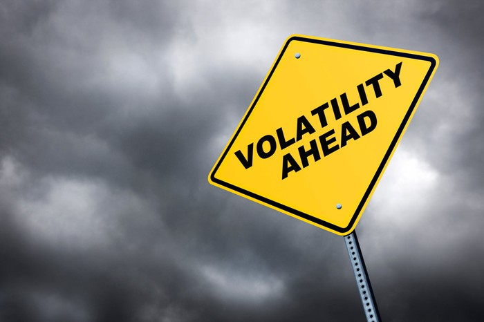"""""""Volatility ahead"""" on a street sign with dark clouds in the background"""