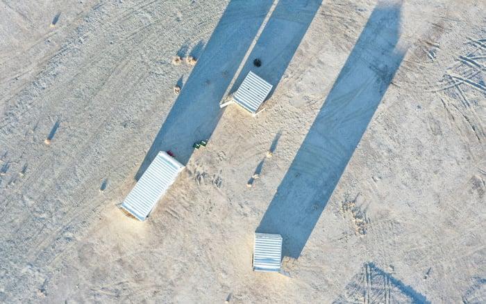 ABL trailers in a desert.