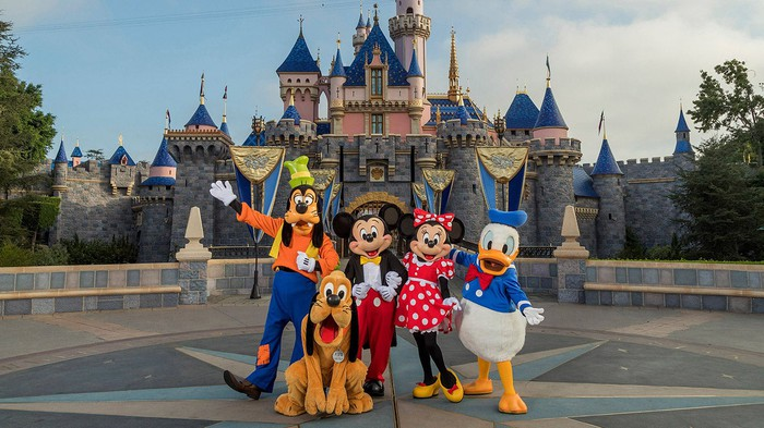 Mickey Mouse and friends in front of the Disneyland castle.