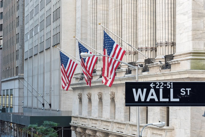 Wall Street street sign in front of a building with American flags