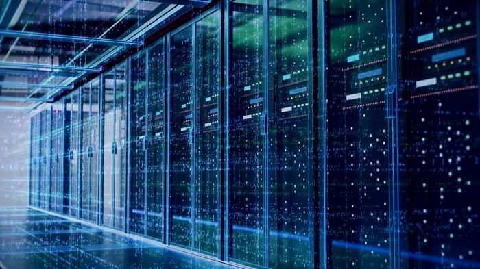 Racks of servers in a data center.