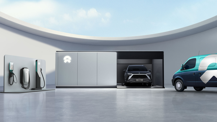 NIO power swap station with vehicle and battery chargers nearby