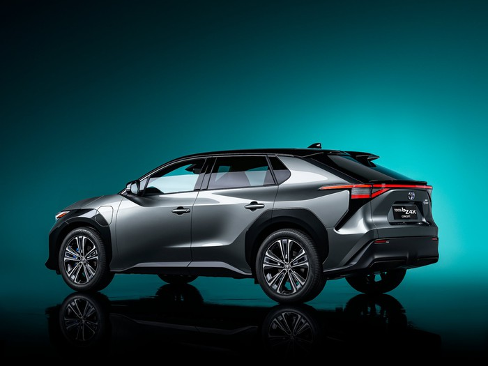 The Toyota bZ4X Concept, an electric compact SUV with styling similar to Toyota's current RAV4 SUV.