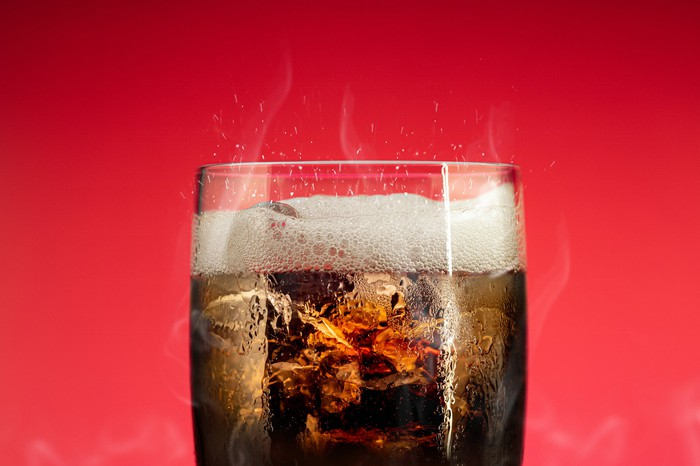 A glass of cola.