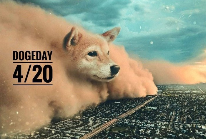 A cloud with the face of a shiba inu sweeping across a city.