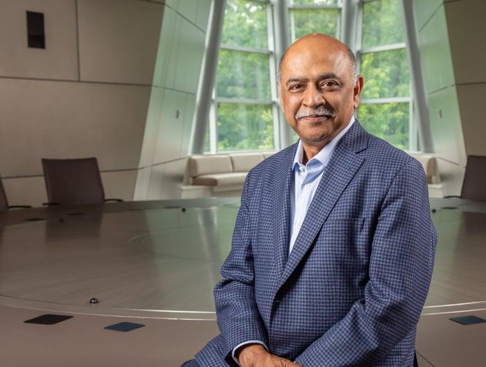 A portrait-style photo of IBM CEO Arvind Krishna.