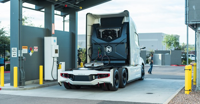 Nikola semi truck tractor at hydrogen fueling station