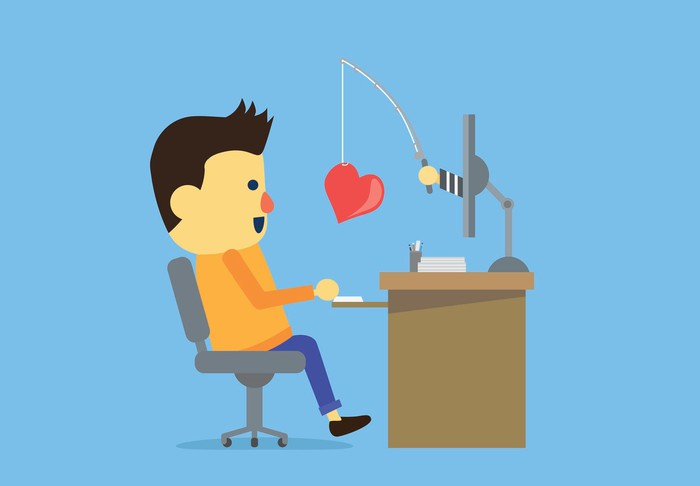 Animated male sitting at a computer screen. A hand holding a fishing rod protrudes from the screen with a heart dangling on the end