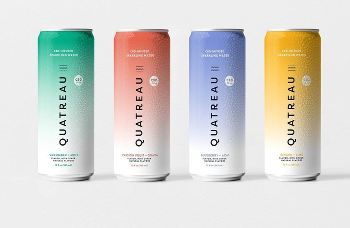 Cans of Quatreau CBD-infused sparkling water