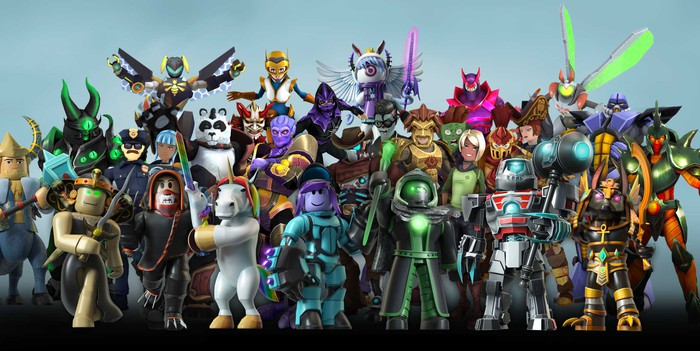 A lineup of avatars available on Roblox.