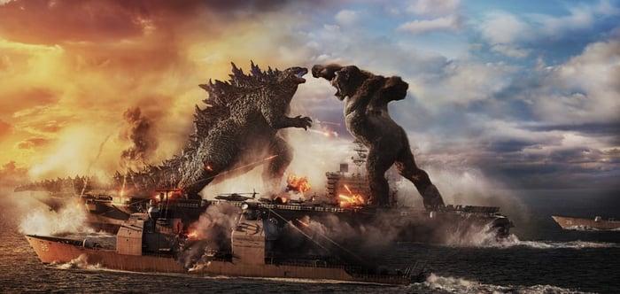 Godzilla battling King Kong