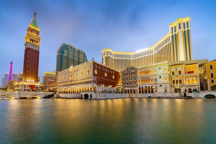 The Venetian Macau on a cloudy night.