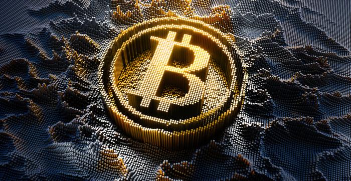 The Bitcoin symbol.
