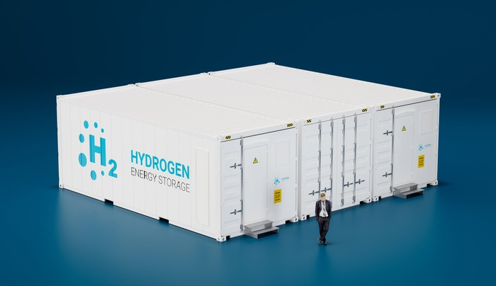 hydrogen energy storage indicated by large storage container