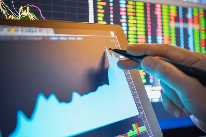 Un graphique boursier en hausse affiché sur une tablette, avec des données de trading en temps réel sur un moniteur en arrière-plan.