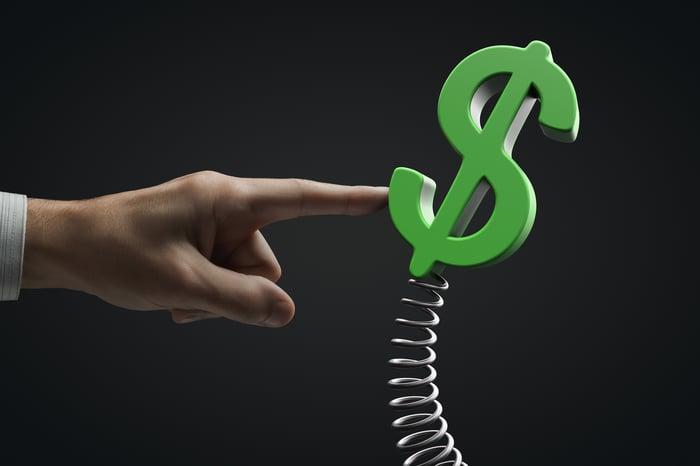 Un signe dollar sur un ressort poussé dans une direction par un doigt.