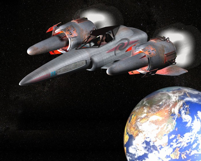 Space fighter jet with Earth in background