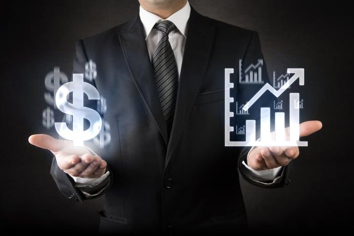 Concept art depicting profitability versus growth.