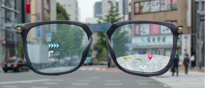 A pair of AR glasses displaying directions.