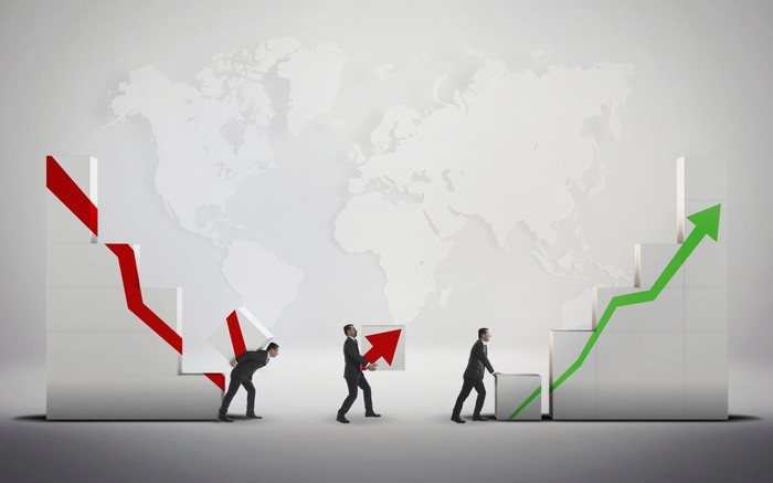 A picture of three small men holding (from left to right) a red line angled down, a red arrow pointing up and a green arrow pointing up signifying a stock crashing and recovering.