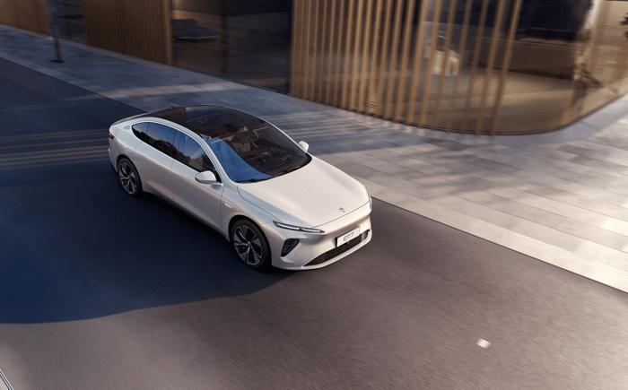 NIO ET7 luxury electric sedan on street