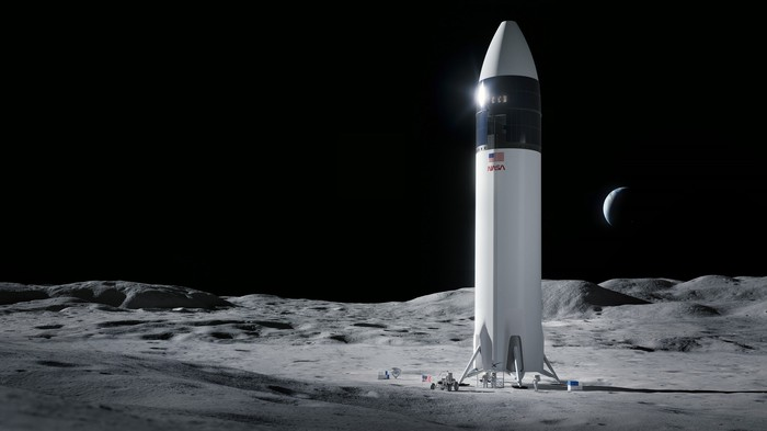 Rendering of SpaceX's StarShip on the surface of the moon.