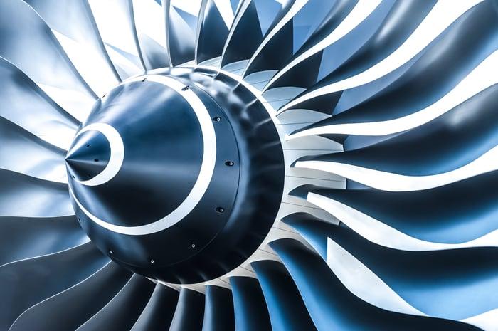 close up of jet engine fan blades