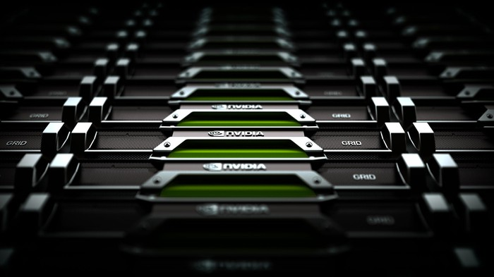 A row of graphics cards with the NVIDIA logo stamped on the side.