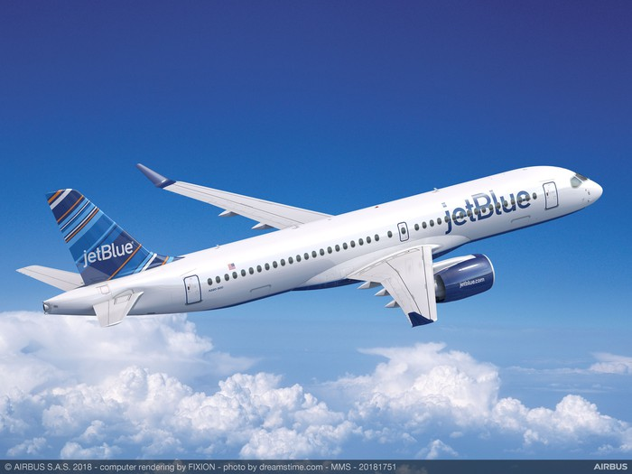 A rendering of an A220 in the JetBlue Airways livery