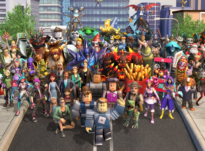 characters from the Roblox gaming platform pose for a photo illustration