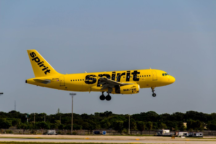 A Spirit plane coming in for a landing.