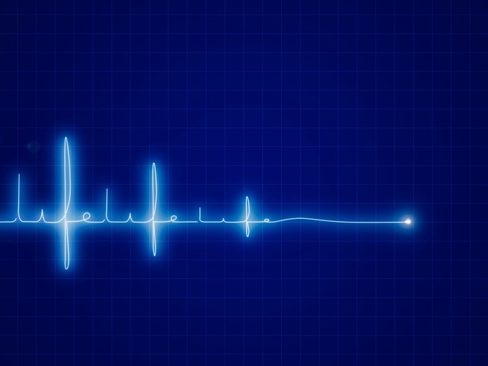 Blue vitals monitor spells out life as it flatlines