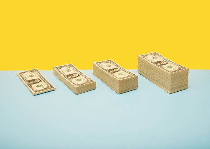 Four stacks of dollar bills increasing in size