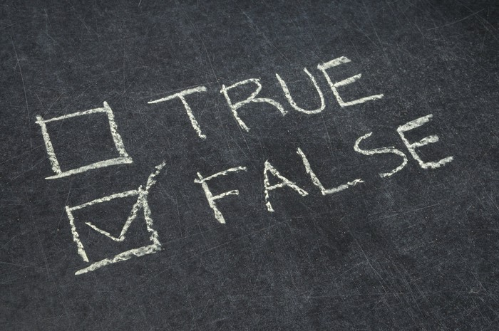 """""""True"""" and """"false"""" written on a chalkboard, with false checkbox checked off."""