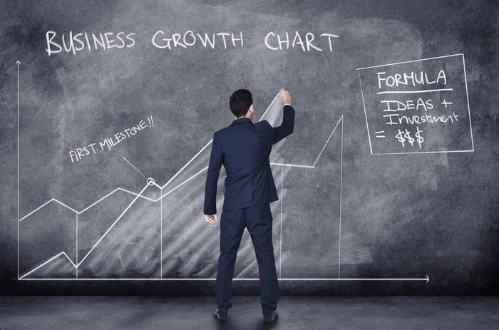 A man drawing on a large chalkboard that says business growth chart.