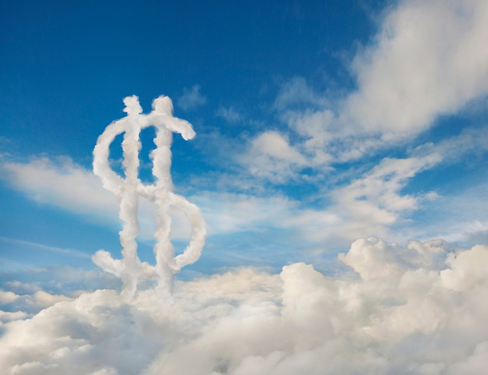 A cloud in the shape of a dollar sign.