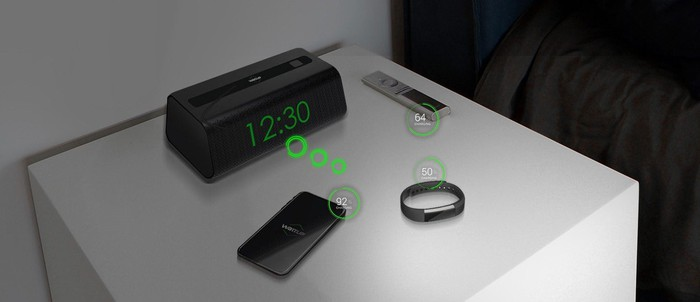 A demonstration of wireless charging technology.