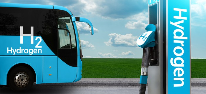 A hydrogen powered bus at a fueling station.