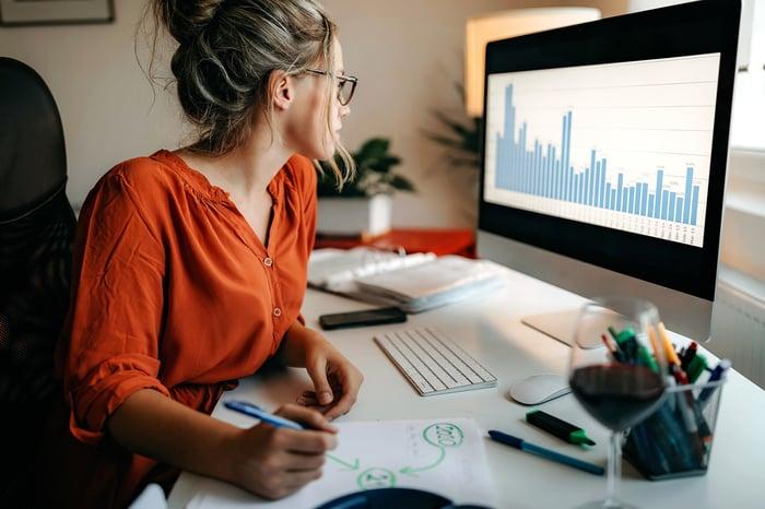 Femme étudiant les graphiques boursiers sur ordinateur