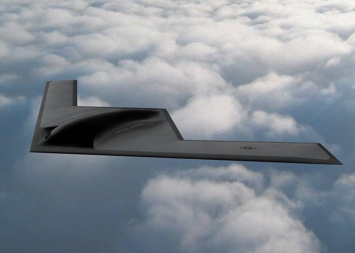 Rendering of the Northrop Grumman-designed B21 bomber.