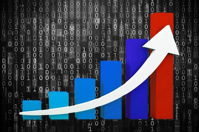 Une flèche montante sur un graphique à barres, illustrant la croissance.
